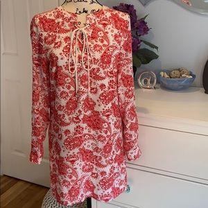 Red white paisley print summer tunic dress .